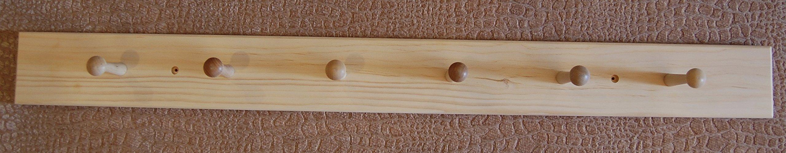 36'' unfinished pine 6 shaker peg coat rack