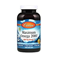 Carlson - Maximum Omega 2000, 2000 mg Omega-3 Fatty Acids Including EPA and DHA,...