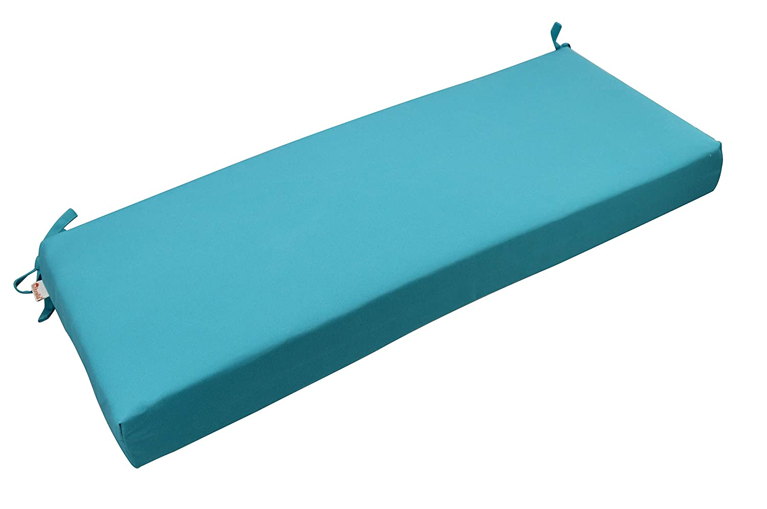 RSH D cor Indoor Outdoor Bench Cushion Made from Premium Sunbrella Canvas Aruba Blue Teal Fabric – 3 Thick Foam Bench Pad with Ties – Choose Size 72 x 20
