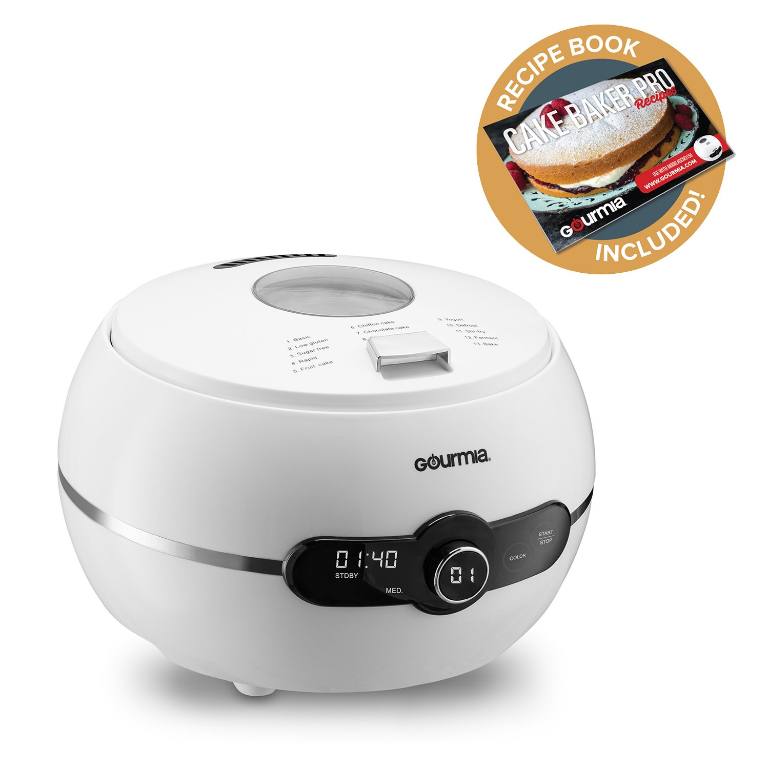 Gourmia - GCM3150 - One touch automatic cake and bake mixer Pro - 2LB - Digital LED Control Panel With 13 Baking Functions - Removable Bundt Baking Pan & Lid, Bonus Accessories & Free Recipe Book by Gourmia