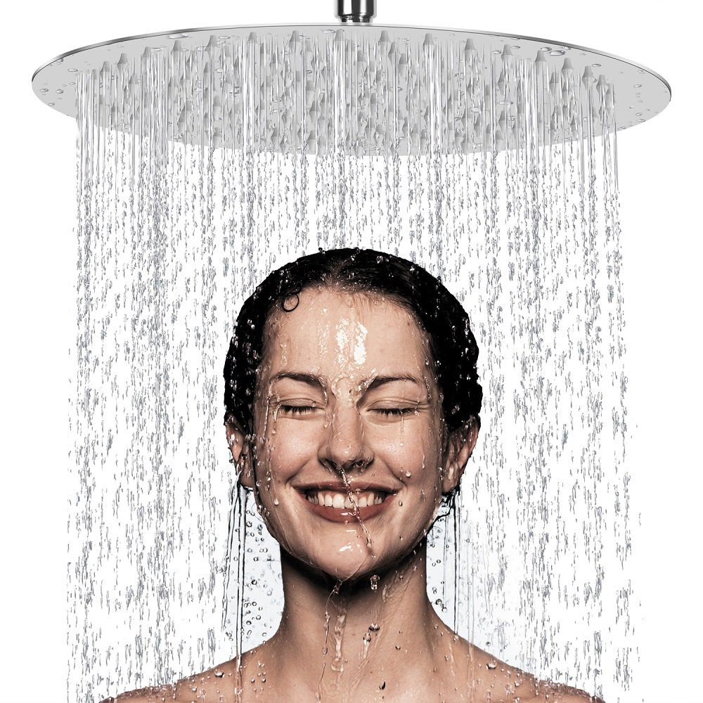 12 Inch Rain Shower Head, NearMoon High Pressure Stainless Steel Bath Shower, Ultra Thin Rainfall Showerhead Waterfall Body Covering with Silicone Nozzle and Powerful Spray Performance (12'' Round) by NearMoon