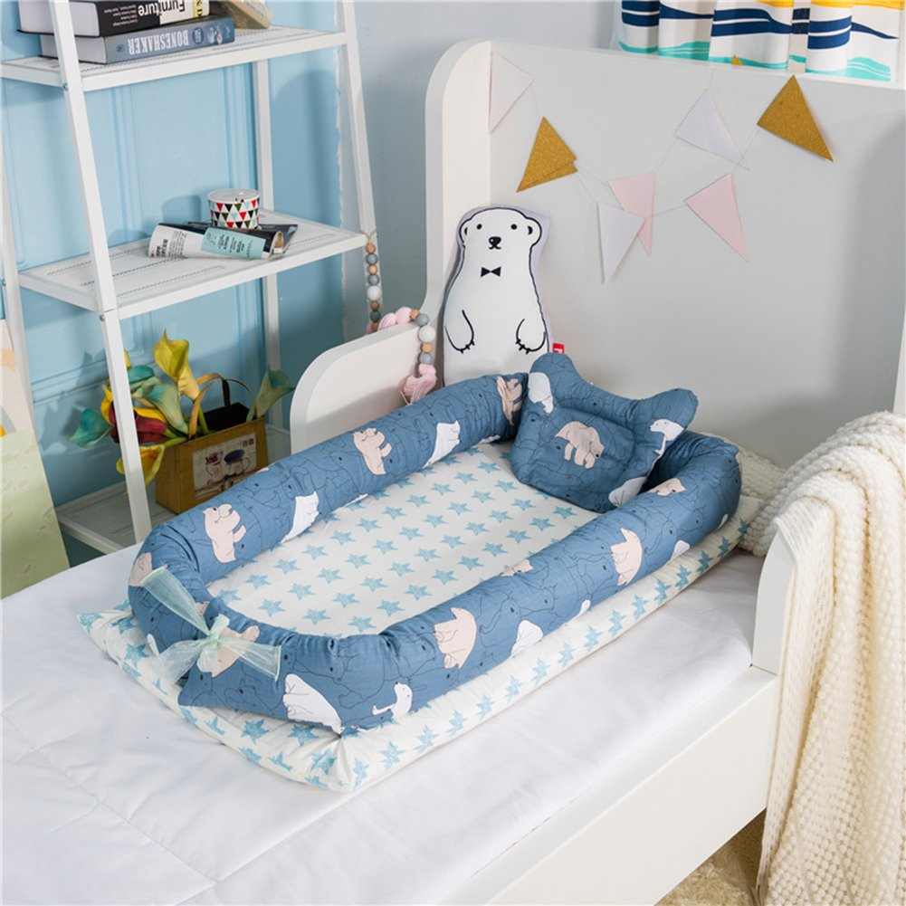 Luerme Baby Pod Nest Soft Pad Baby Cot Bed Secure Sleep Crib with Pillow (A)