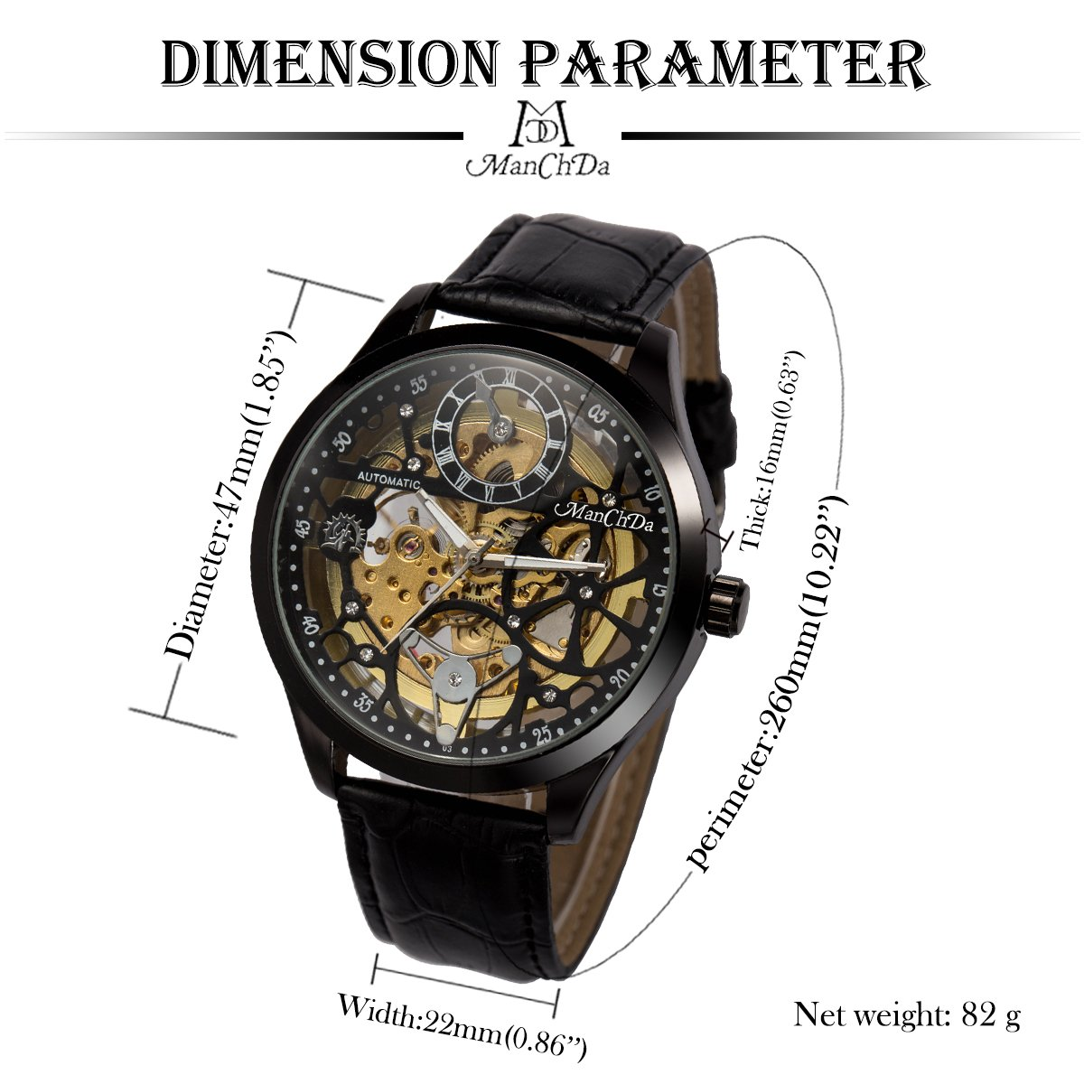ManChDa Big Case 47MM XL Automatic Mechanical Crystal Black Leather Wrist Watch + Gift Box by ManChDa (Image #5)