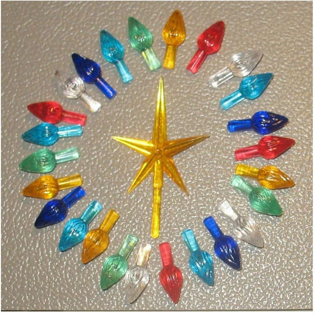 30 Replacement Large Ceramic Christmas Tree Large Twist Light Bulbs and Star