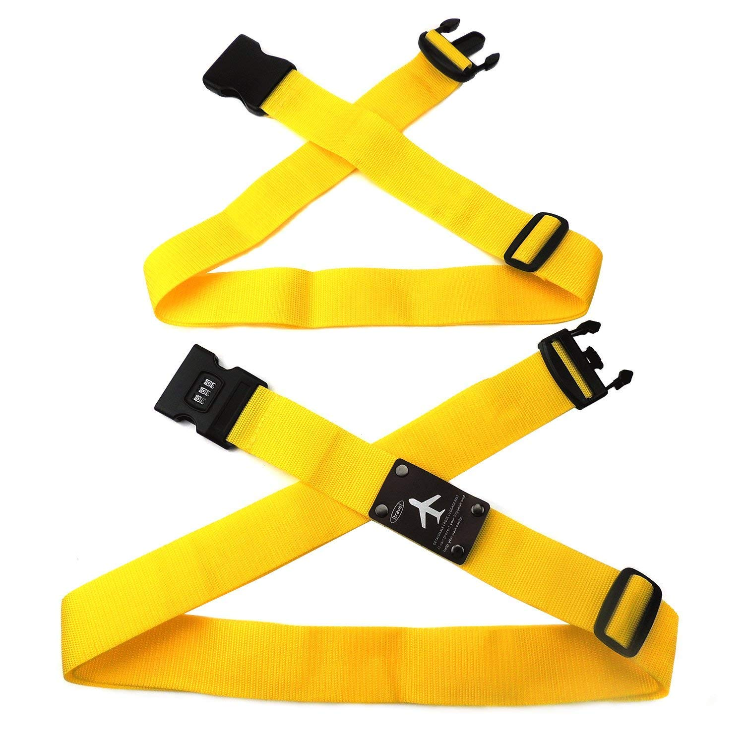 CHMETE Travel Suitcase Belts/Luggage Straps, 2pcs-yellow by CHMETE (Image #5)