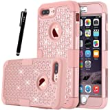 iPhone 7 Plus Case Bling Case HKW Glitter Sparkle Rhinestone shiny 3 IN 1 Armor Defender Shockproof Case Protective Cover for Apple iPhone 7 Plus 5.5 Inch Diamond Case - Rose Gold (MA1854)