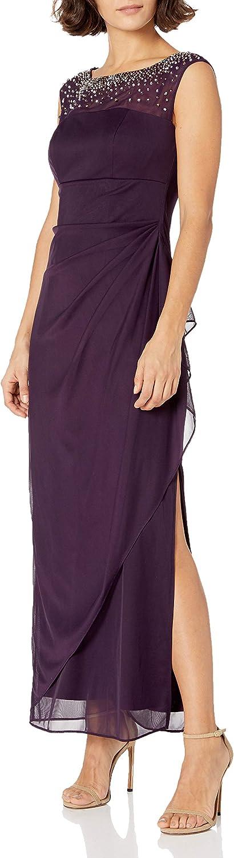 Alex Evenings Women's Long Column Dress with Sweetheart Neck (Petite and Regular)