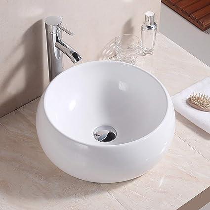 in lussuosa ceramica bianca Basong Lavabo soprapiano per il bagno di forma rotonda