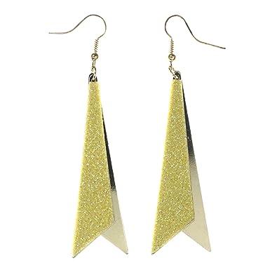 0e177c3225dd8 Amazon.com: Glitter Sparkle Dangle-Earrings Yellow & Gold-Tone ...
