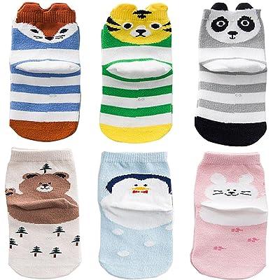 6-Pack Unisex Baby Cotton Socks Kids Crew Socks Cartoon Baby Infant & Toddler Socks From October Elf