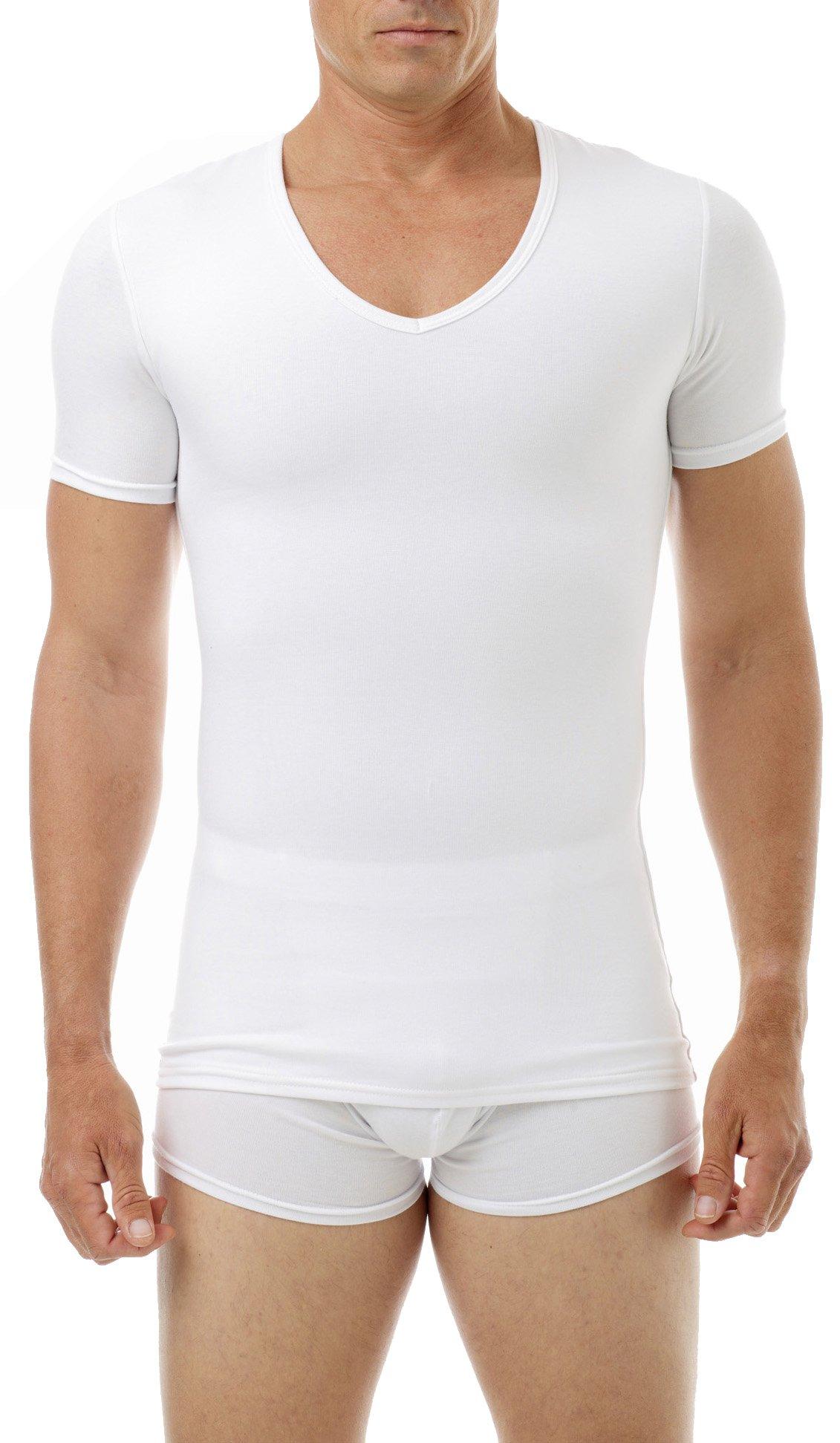 Underworks Cotton Concealer Compression V-neck T-shirt 3-pack Top, 2X, White by Underworks (Image #1)