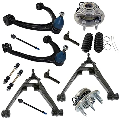 Detroit Axle - Front Upper Lower Control Arms Inner Outer Tie Rods w/Boots Sway Bar Links & Wheel Hub Bearing Assembly for 2007-13 Chevy GMC Cadillac Silverado Suburban Sierra Yukon XL 1500-4WD: Automotive