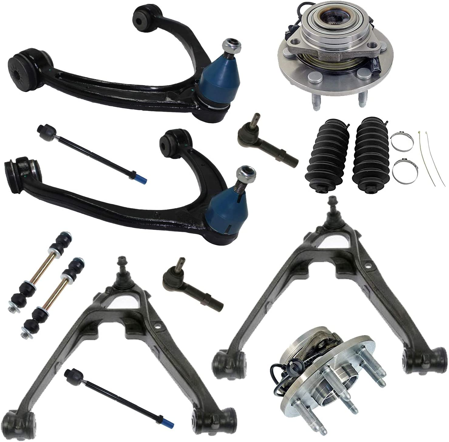 10-Year Warranty- Cadillac Both Front Lower Control Arms /& Ball Joint Inner /& Outer Tie Rod Ends ; 2 Sway bar links/… 2 New Complete 8-Piece Front Suspension Kit 4 Detroit Axle All