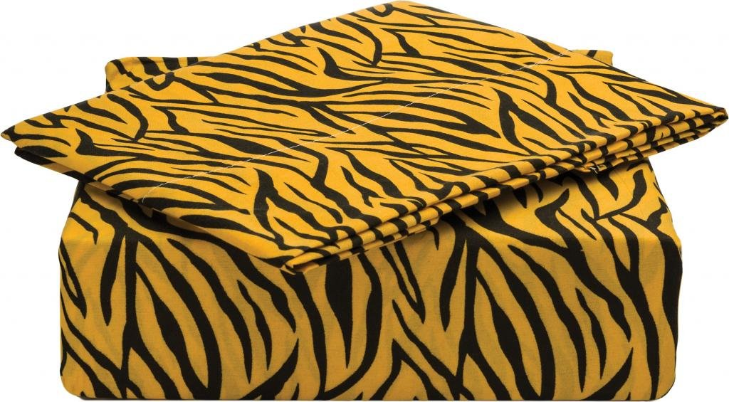 Clara Clark Signature 820 Collection 3 pc Bed Sheet Set, Twin Size, Zebra Animal Print, Orange