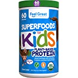 Feel Great Vitamin Co. USDA Organic Green Superfood Kid's Greens Protein Powder (60 Day), Chocolate Vegan Smoothie Mix with G