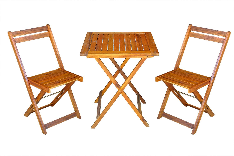 MCombo 3tlg Set da giardino balcone set tavolo da giardino Sedia in legno di acacia certificato FSC