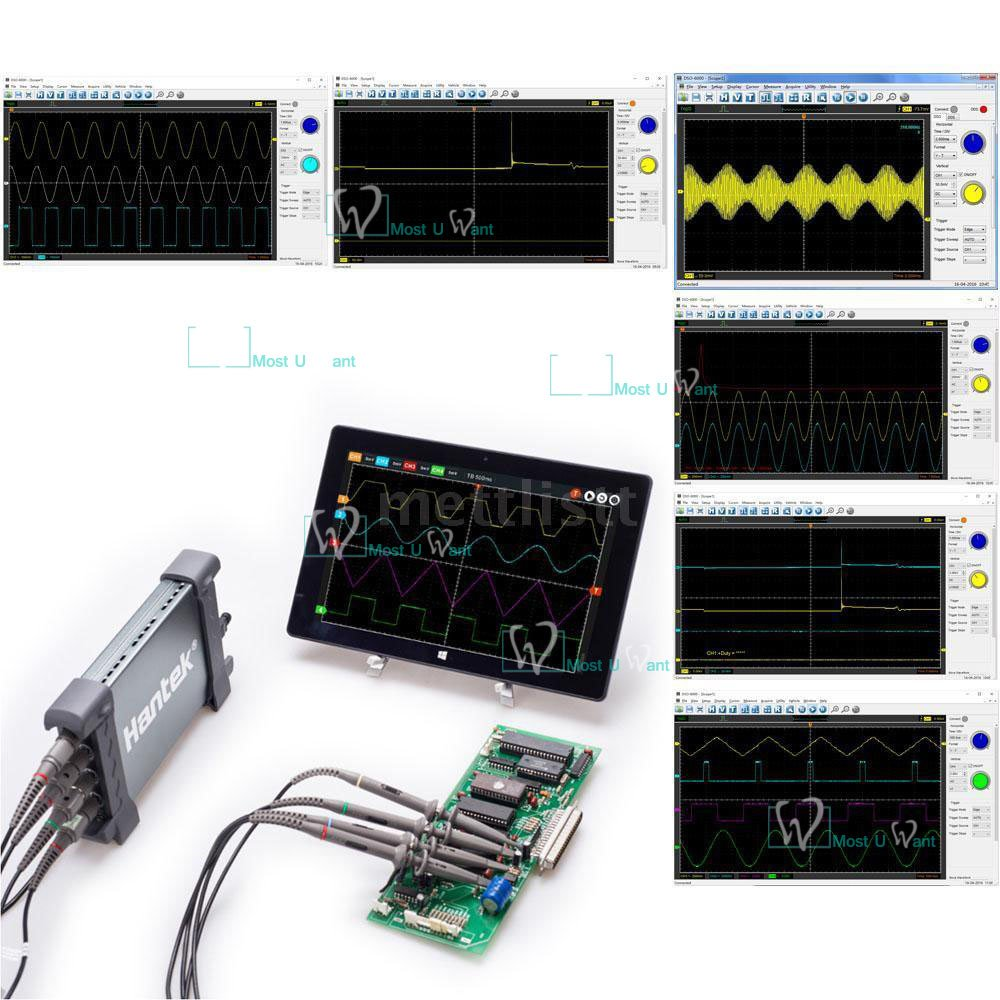 Hantek Automotive Diagnostic Equipment PC Based USB Oscilloscope 4CH 250MHz 1GSa//s 8bits 64K