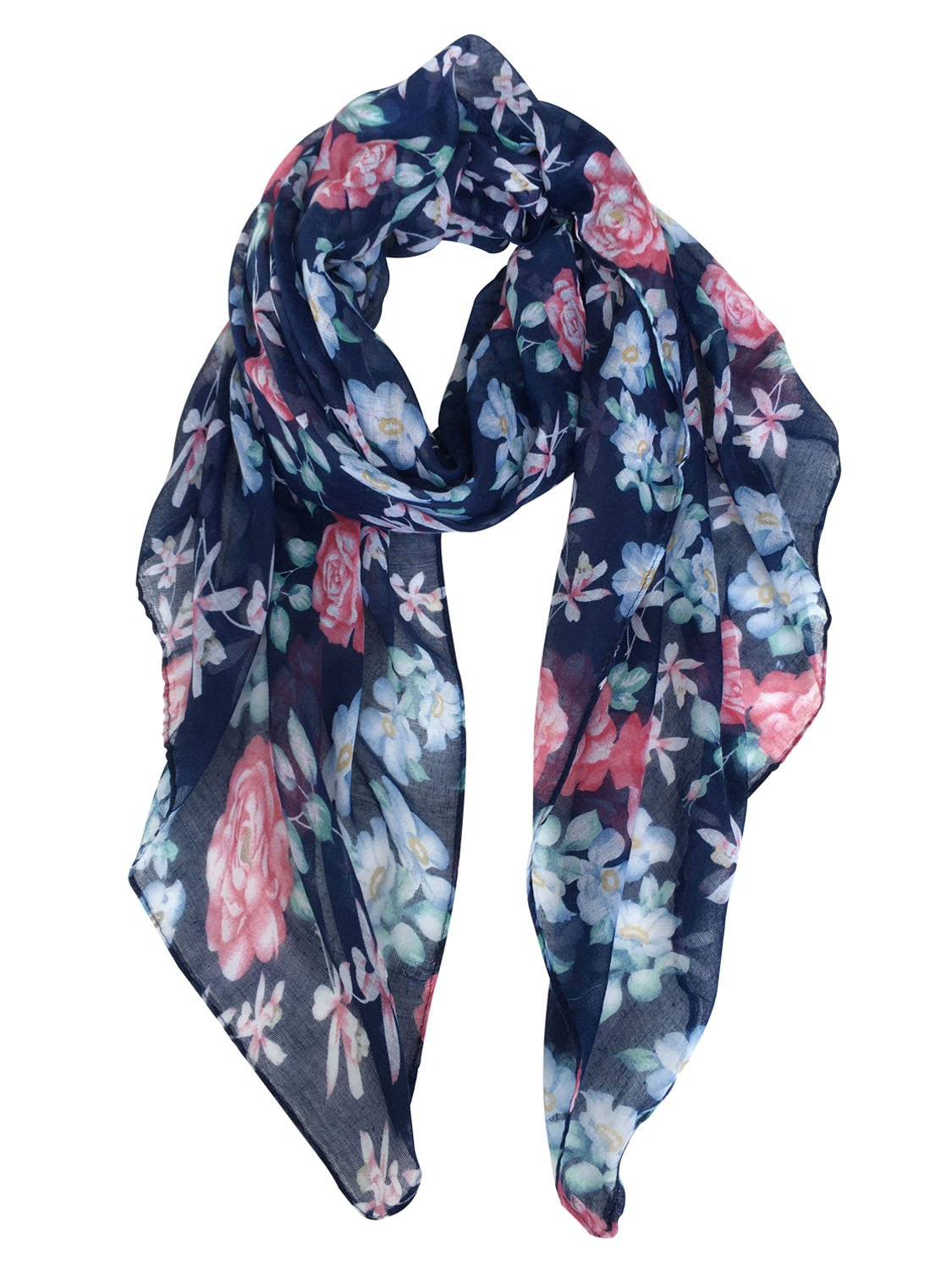 GERINLY Lightweight Scarves: Fashion Flowers Print Shawl Wrap For Women (Denim) e20-27c9256