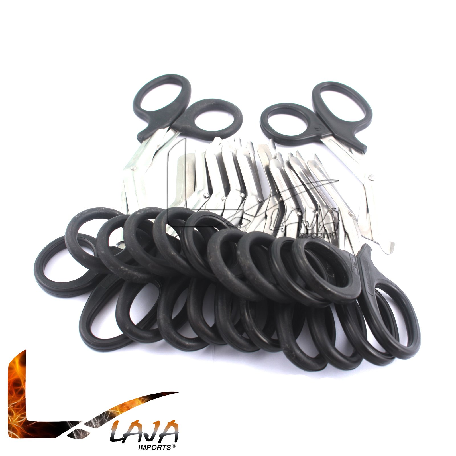 LAJA IMPORTS 100 PCS PARAMEDIC UTILITY BANDAGE FIRST AID STAINLESS STEEL TRAUMA EMT EMS SHEARS SCISSORS 7.25' BLACK by LAJA IMPORTS®