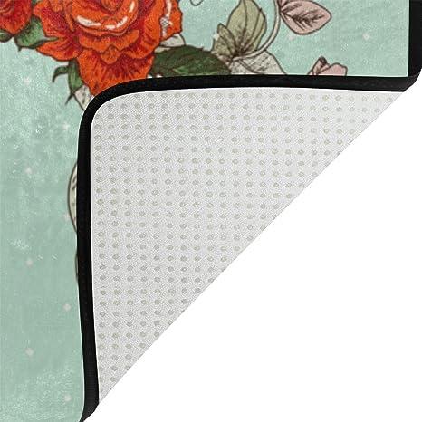 Amazon.com: lorvies Vintage pavo real con flores alfombrilla ...