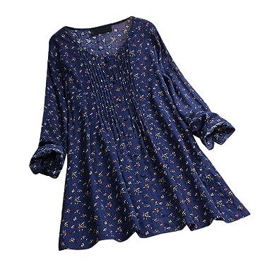 SHJIRsei Camisetas Mujer Estampado de Flores Informal O-Cuello ...