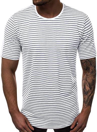 beautyjourney Camiseta de Verano de la Raya de los Hombres Camisas Deportivas Manga Corta Cuello Redondo Camisa Estampada de Rayas Sueltas Camisa Casual Top de Camisa Larga: Amazon.es: Ropa y accesorios