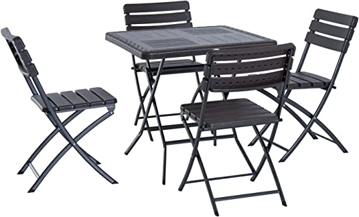Outsunny 5 PCS Rattan Effect Folding Garden Patio Dining Set 4 Chairs /& 1 Table Outdoor Furniture Set Black