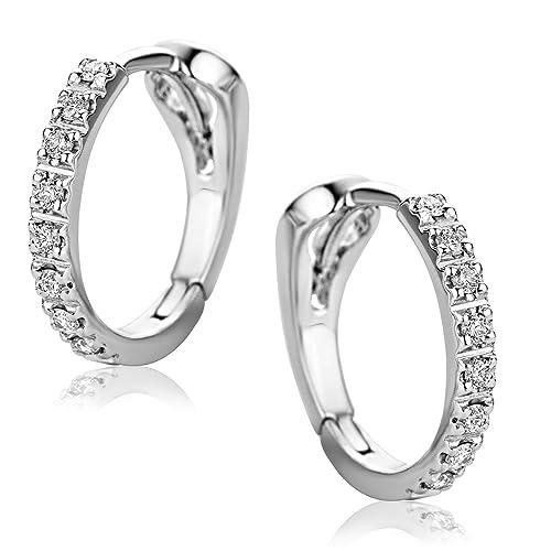 501ad217d3a4 Orovi Pendientes Señora aros en Oro Blanco con Diamantes Talla Brillante  0.10 ct Oro 18 kt  750  Amazon.es  Joyería
