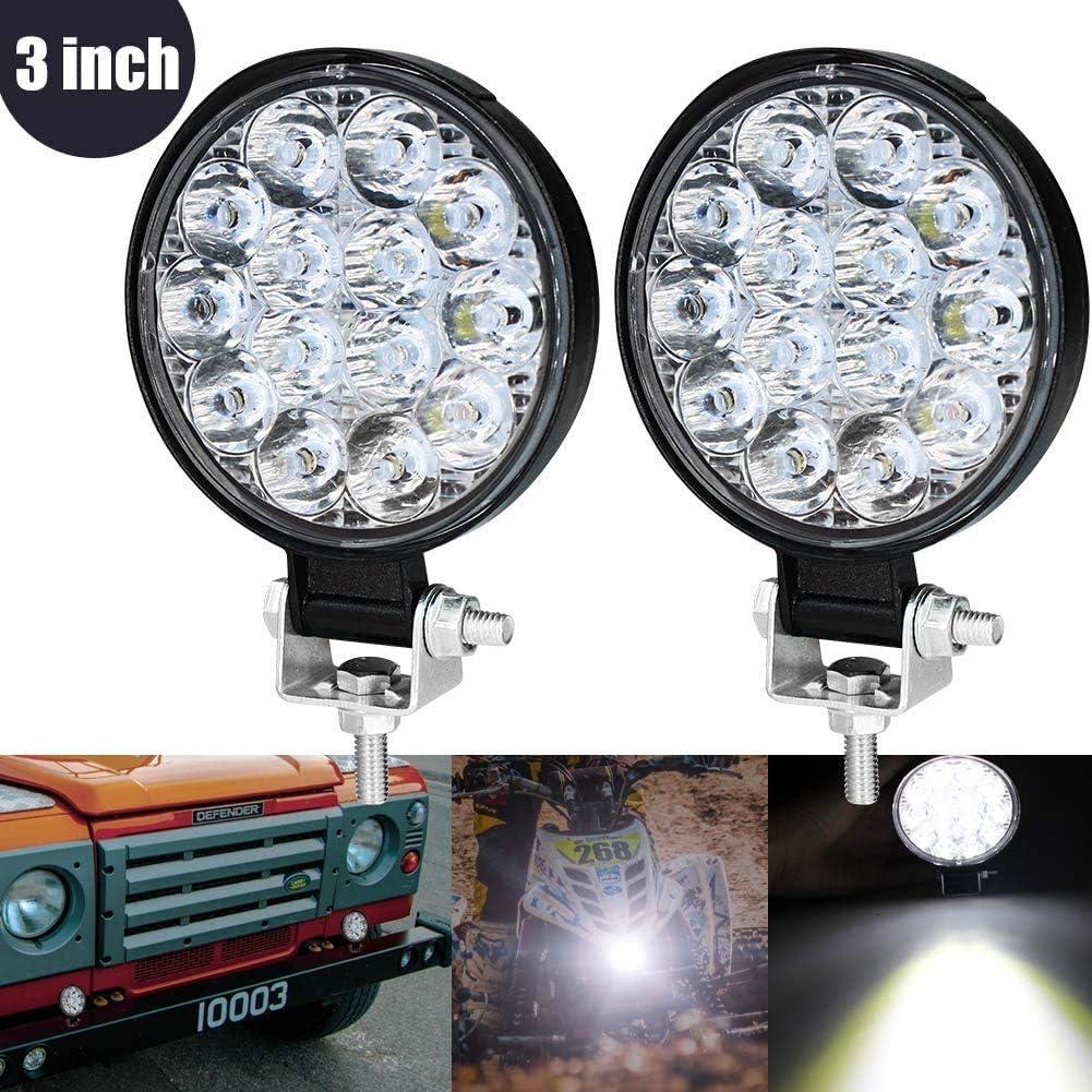 3 Inch Mini Foco Led Tractor,42W Focos de Coche LED Potentes 12V 24V Faros Trabajo LED Adicionales Coche Luz de Niebla luz Auxiliar Moto 2800LM para Moto Offroad Tractor SUV Camión Barco 2pcs