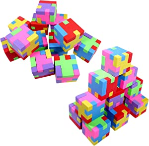 Anapoliz Geometric Puzzle Colorful Erasers for Pencils | Back to School Supplies, Party Goodies, Fun Activities Puzzle, Party Favors School Erasers (24 Pack)