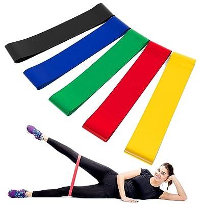 KONKY 5PCS Lot de bandes élastiques d'exercice pour Yoga - Pilates - Fitness - Rééducation - Musculation - Gym Entraînement - Powerlifting - CrossFit - tractions assistées - d'Autres Sports -