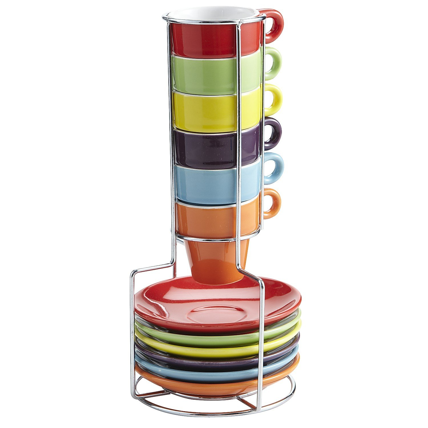 Pier 1 Imports Multicolor Colorful Stacking Espresso Demitasse 1.5oz Mugs Set with Saucers