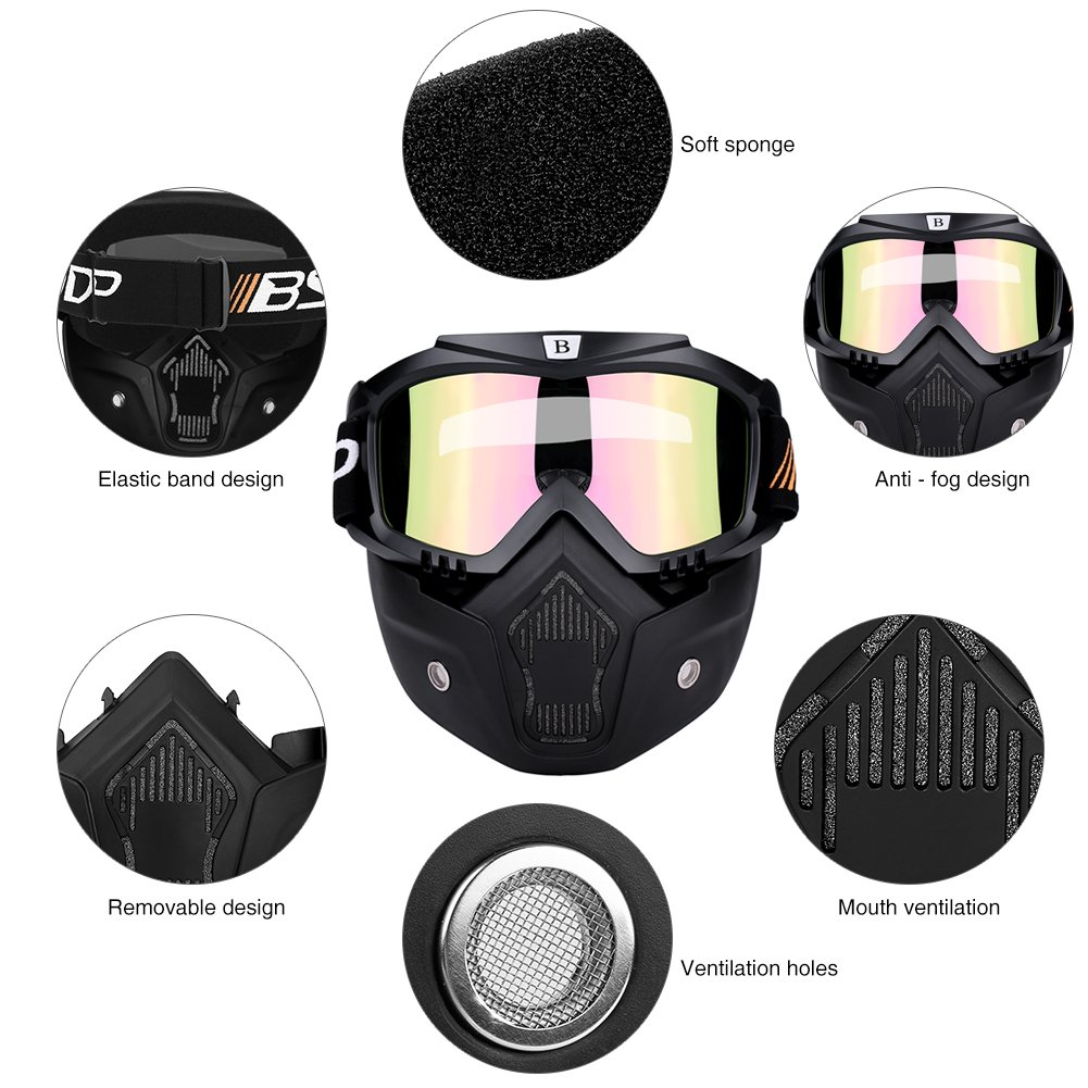 Qiilu Motorcycle Motocross Cycling Open Face Helmet Mask with Detachable Anti-fog Goggle White mask + colorful goggle