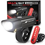 GearLight Rechargeable Bike Light Set S400 - Powerful Front and Back Lights, Bicycle Accessories for Night Riding, Cycling -