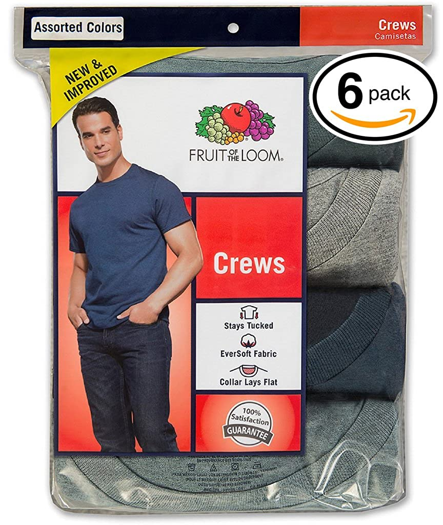 Assorted Stay Tucked Pack of 6 M179 Fruit of the Loom Mens Stay Tucked Crew T-Shirt Large
