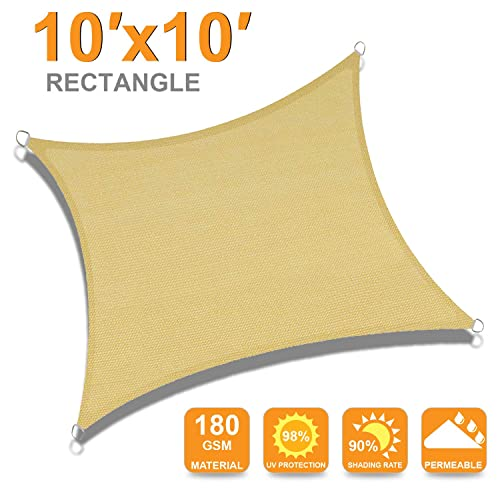 OUTDOOR WIND 10 x10 Sun Shade Sail Rectangle Canopy for Outdoor Patio Backyard Beige
