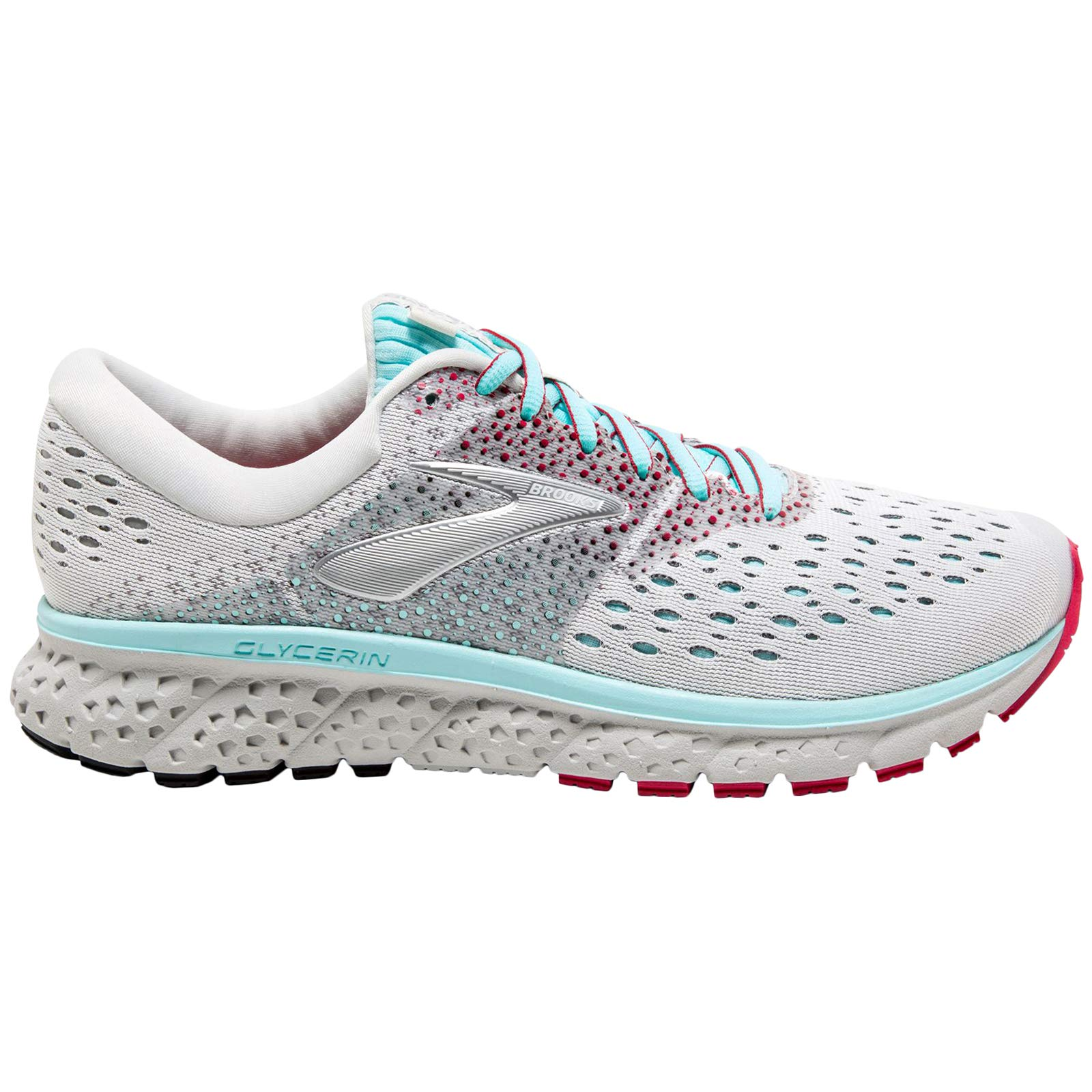 Brooks Women's Glycerin 16 White/Blue/Pink 5.5 B US by Brooks (Image #1)