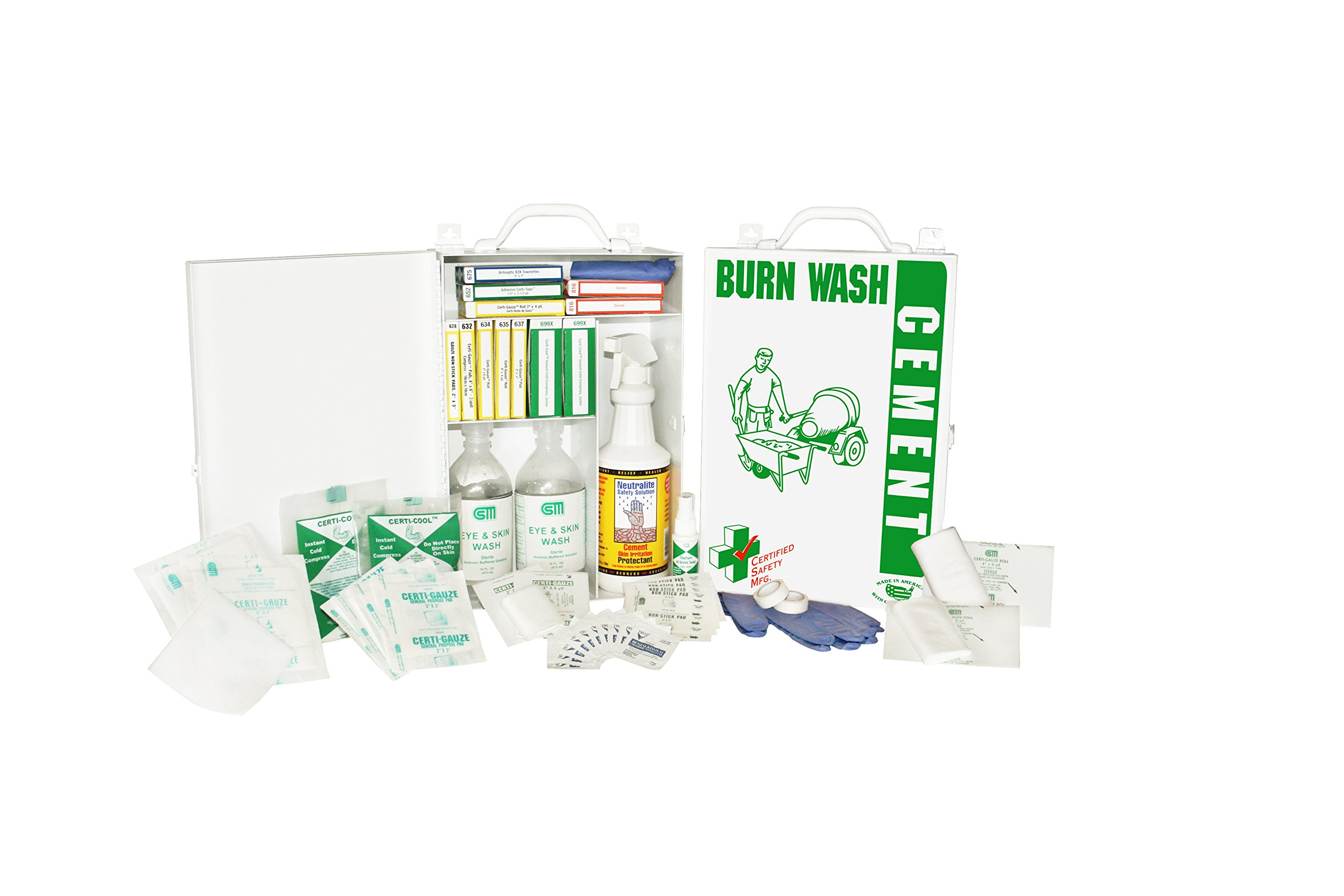 Certified Safety K608-054 Cement Burn First Aid Kit in Metal Cabinet
