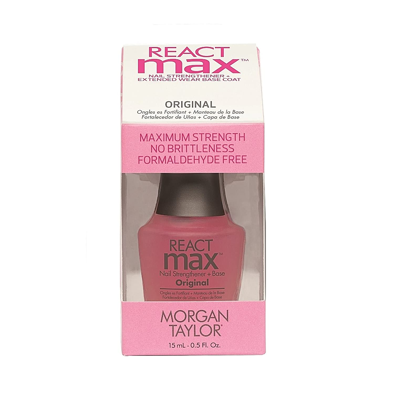 Morgan Taylor reactmax original nail strengthener + extended wear base coat, 15ml