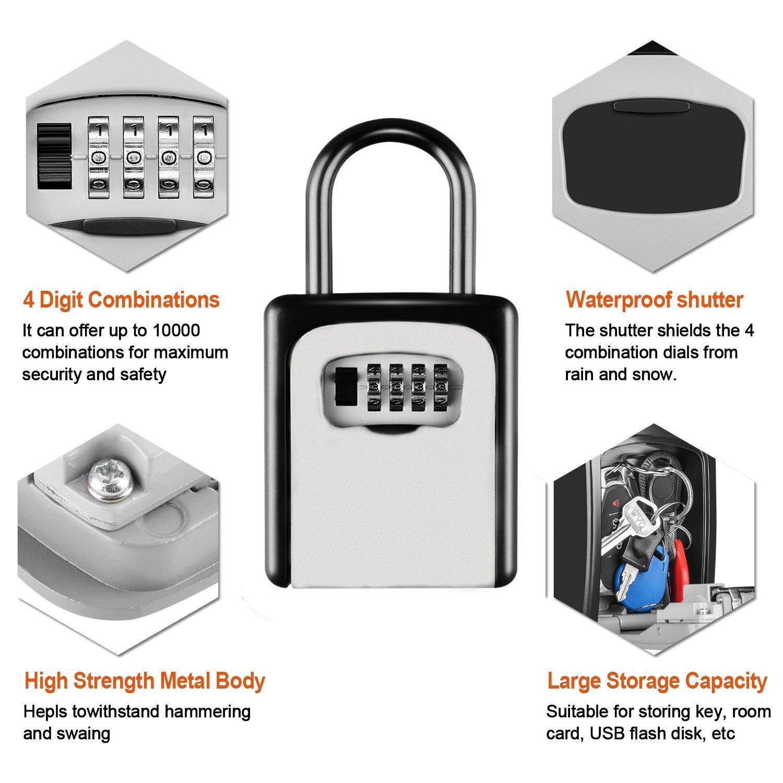 KIPRUN Key Storage Lock Box, 4-Digit Combination Lock Box, Wall Mounted Lock Box, Resettable Code (Belt Hook) by KIPRUN (Image #4)