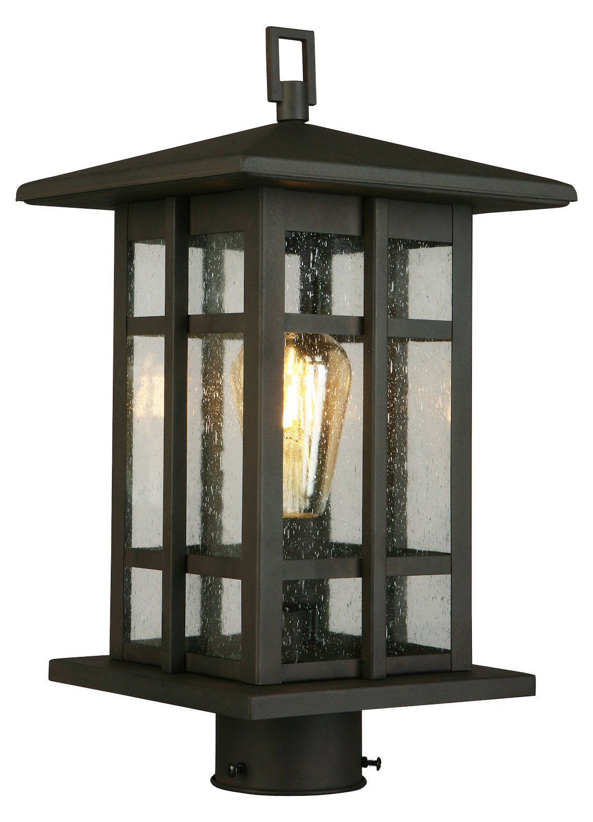 1X60W Outdoor Post Light W Matte Bronze Finish & Clear Seeded Glass