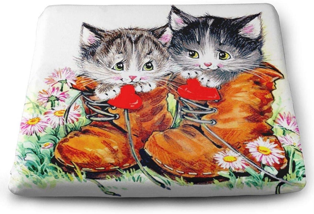 ADGoods Cojín de Asiento Cuadrado Cute Cat Kitten Memory Foam Seat Cushion Square Chair Cushion Pad Fits Car Chairs For Office,Home,Car,Kitchen