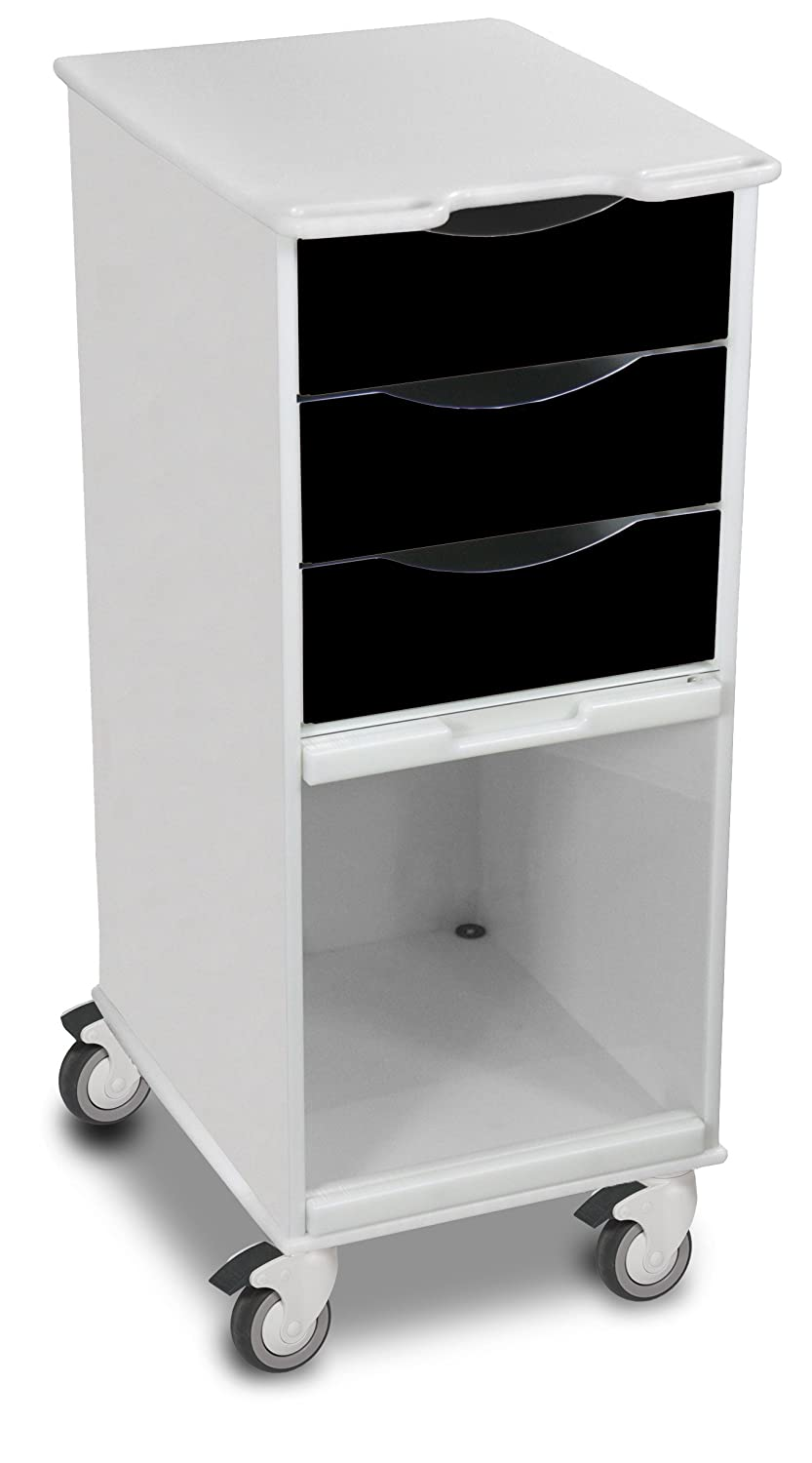 """35/"""" Height x 19/"""" Depth White TrippNT 51142 Polyethylene Core SP Space-Saving Locking Lab Cart with Clear PETG Door 15/"""" Width"""