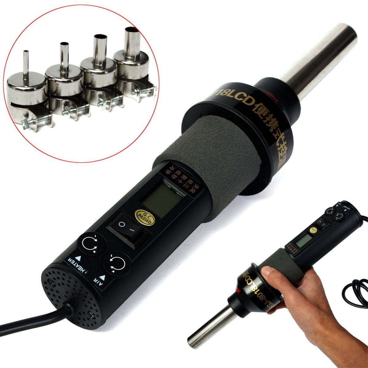 ExcLent Gj-8018 200W 110V Electronic Lcd Pistola De Calor Pistola De Aire Caliente Herramientas De Soldadura Con 4 Boquillas