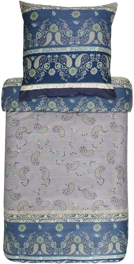 Bassetti Raffaello V1 - Juego de cama (satén), algodón, azul/gris ...