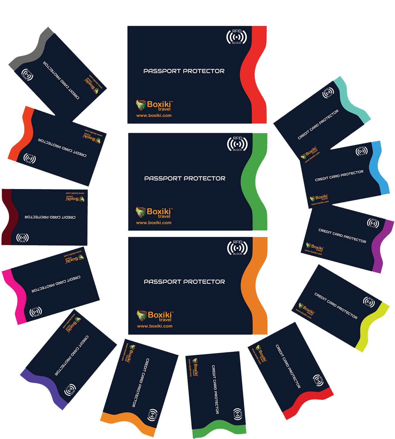 RFID Blocking Sleeves, Set with Color Coding. Identity Theft Prevention RFID Credit Card Holders by Boxiki Travel (Set of 12 Credit Card Protector Sleeves + 3 Passport Holders) (Navy Blue)