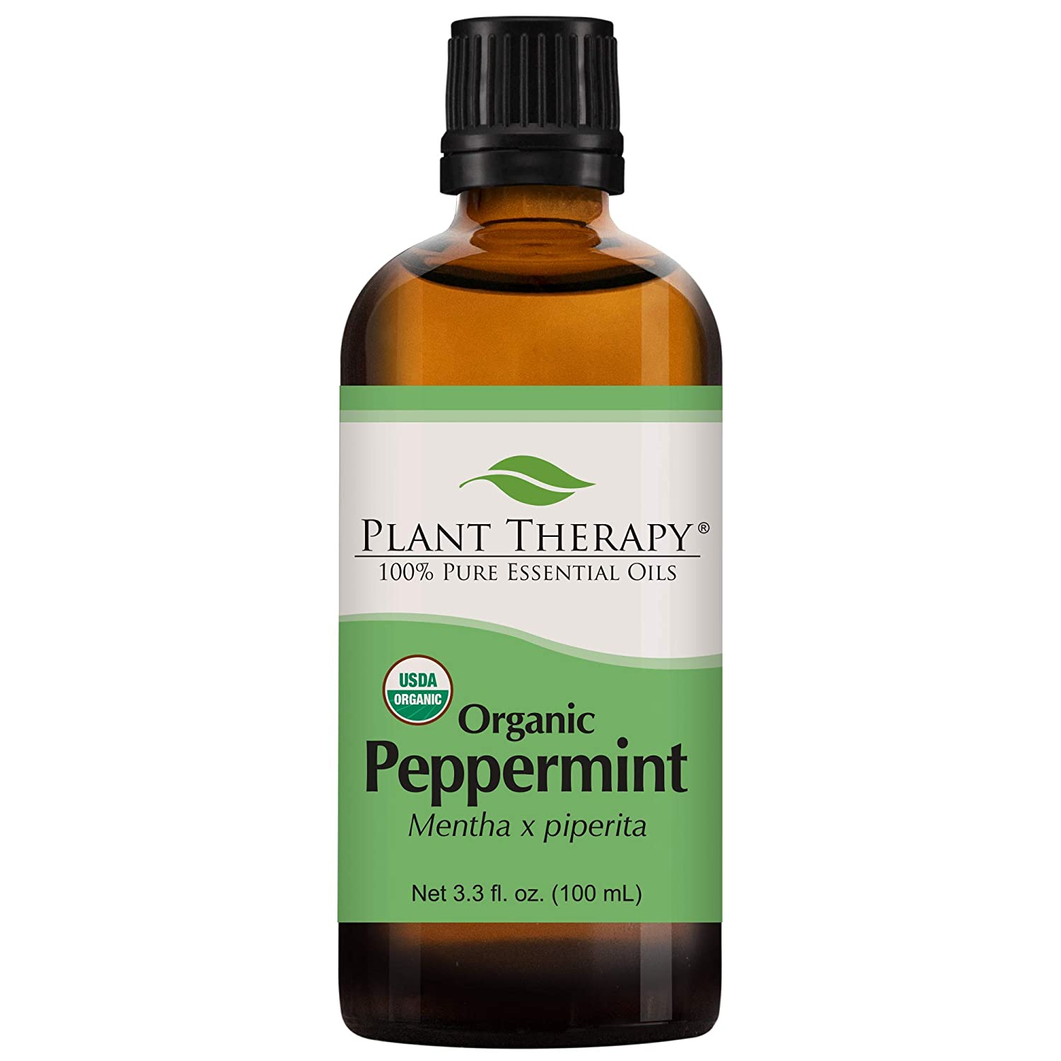 Plant Therapy Organic Peppermint Essential Oil 100% Pure, USDA Certified Organic, Undiluted, Natural Aromatherapy, Therapeutic Grade 100 mL (3.3 oz)