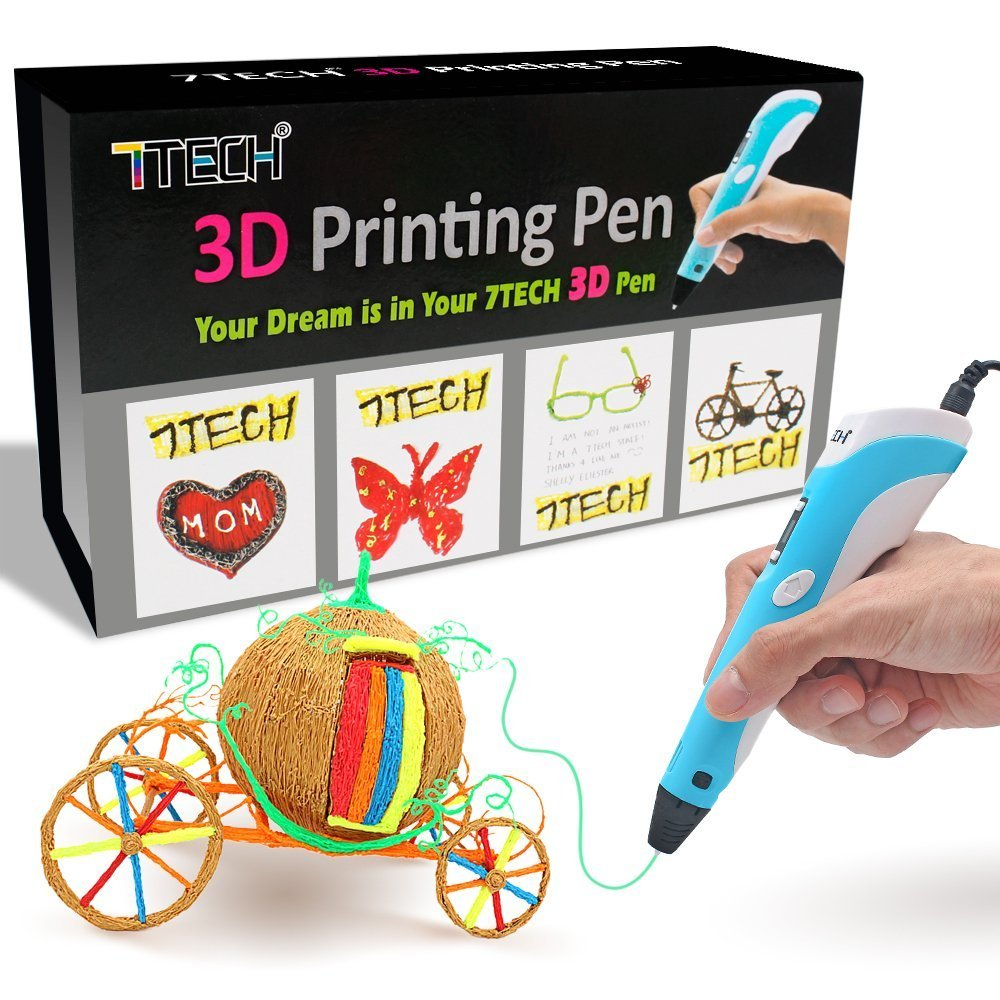 3D Pen 7TECH 3D Printing Drawing Printer Pen w//LCD Screen Free 280 Stencil eBook Bonus Filament Refills for 3D Art Craft Models DIY Design Perfect Gift