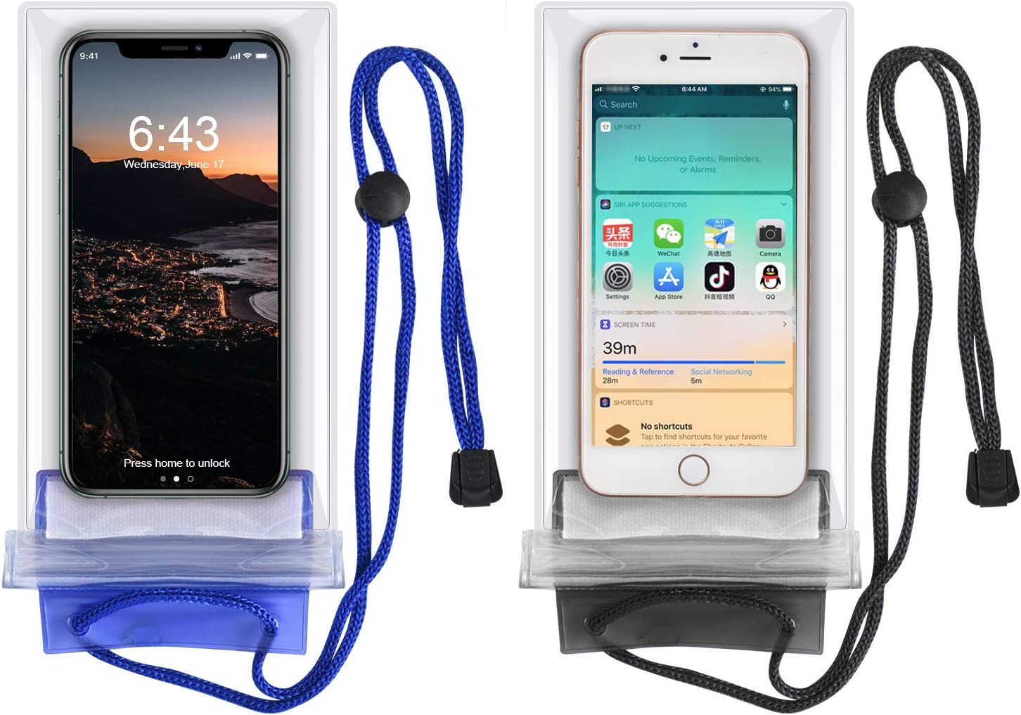 KEEHOM Funda Impermeable Universal 2 Unidades, Bolsa para Móvil Estanca a Prueba de Agua para iPhone 11/XS MAX/XR Samsung Galaxy Huawei P40 P30 Pro Xiaomi OnePlus y Otros Teléfonos hasta 7 Pulgadas