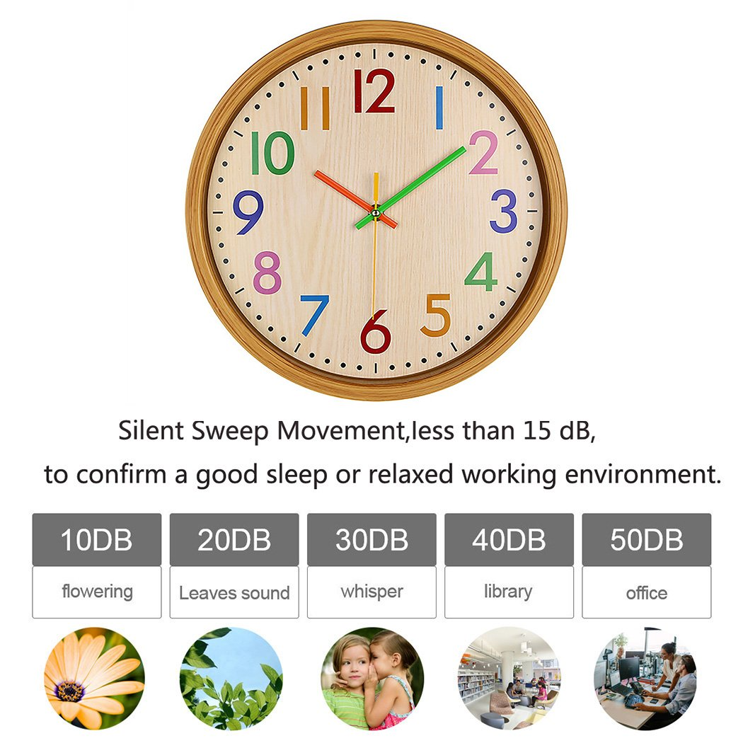AIOLOC Kids Eco-friendlly Imitate Wood Wall Clock 12.5 Inch Silent Colorful Decorative Battery Operated Clocks Easy To Read for Children's Room by Ticktar (Image #6)